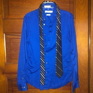 Calvin Klein Boys Dress Shirt & Tie